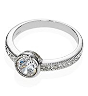 M&S Collection Platinum Plated Diamanté Milgrain Round Ring