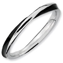 Daringly Cool Silver Twisted Blk. Enamel Stackable Ring. Sizes 5-10 Available
