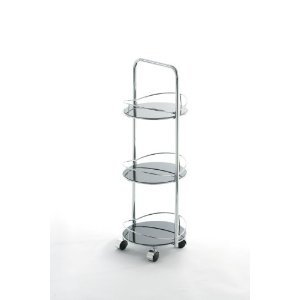 Epic  Tier Storage Unit Shelf Unit Bathroom Trolley with Round Glass Shelves