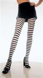 Black and White Striped Tights - Plus Size