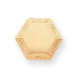 Gold-plated Hexagon Tie Tack - JewelryWeb