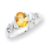 Sterling Silver Citrine ring - Size 8 - JewelryWeb