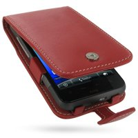 PDair Leather Case for HTC Desire HD A9191 - Flip Type (Red)