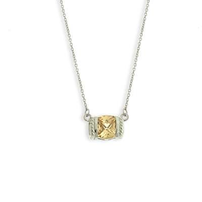 In Style 925 Sterling Silver Chain Necklace w/ Enticing Bezel Set Square CZ Champagne Pendant(WoW !With Purchase Over $50 Receive A Marcrame Bracelet Free)