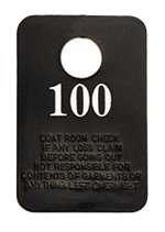 Coat Room Checks, Numbered 1-100, Black Plastic W/White Lettering (1 Pack/Unit)