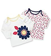 2 Pack Pure Cotton Floral Print T-Shirts