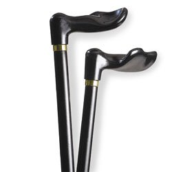Wood Cane With Black Palm Grip Handle Left - Black Stain