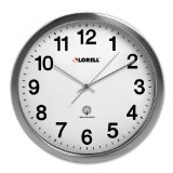 Lorell Brushed Nickel Plated Alarm Wall Clock - Digital - Atomic