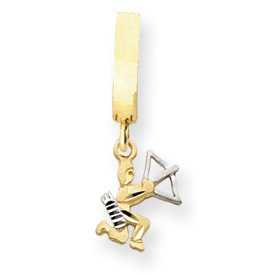 14K Rhodium D-Cut Satin Sagittarius Zodiac T-Toy Belly Ring - JewelryWeb