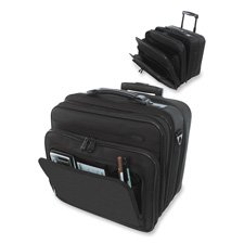 "Stebco LLC Products - Computer Bag On Wheels, 40""Handle, 14""x9-1/2""x14-1/2"", Black - Sold as 1 EA - Computer bag on wheels features two fully padded compartments for laptop, portable printer and accessories. Bag accommodates a standard 15"" screen laptop. Middle compartment comes with a privacy sleeve to hide personal belongings for overnight use if required. Computer bag has six large compartments for file folders/documents and a full organizer for media, business cards, pens, and more. Transpor"