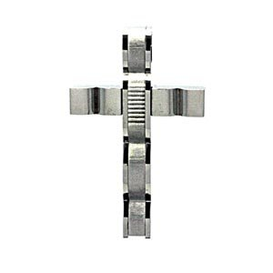 Stainless Steel Wave Design Cross Pendant (1.48