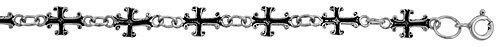 Sterling Silver Cross Charm Bracelet, 5/16 inch (8 mm) wide