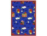 "Joy Carpets Kid Essentials Language & Literacy Spanish Bookworm Rug, Blue, 10'9"" x 13'2"""