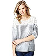 Lace Yoke Striped Top with Linen