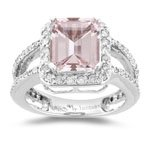 0.71 Cts Diamond & 2.65 Cts Morganite Ring in 14K White Gold