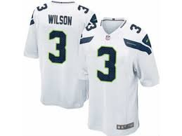 Seattle Seahawks Russell Wilson #3 White Youth Jersey Small by Player