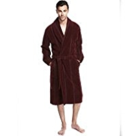 Luxury Pure Cotton Shawl Collar Velour Dressing Gown