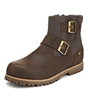 Coated Leather Buckle Trim Boots