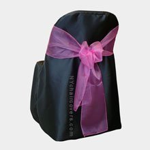 Black Folding Chair Covers (Set of 10). Chair Sash Not Included. Great for Weddings and Events. Make Your Next Party or Banquet Pop with These Beautiful Chair Covers