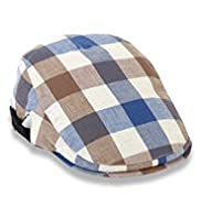 Pure Cotton Large Gingham Checked Flat Cap
