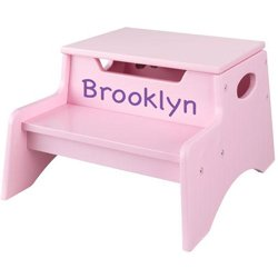 Personalized Pink Step 'n Store Stool - Font: Marker, Font Color: Purple from KidKraft