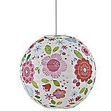Floral Paper Light Shade (Bedroom Ceiling Lamp Shade) - Multi-Coloured to Suit a Variety of Decors: Pink, Red and Pale Blue Flowers & Green Leaves on White Background -- Diameter 30cm / 12in