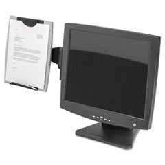-- Office Suites Monitor Mount Copyholder, Plastic, Holds 150 Sheets, Black/Silver
