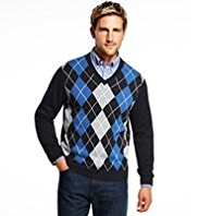 2in Longer Blue Harbour Pure Cotton V-Neck Argyle Jumper