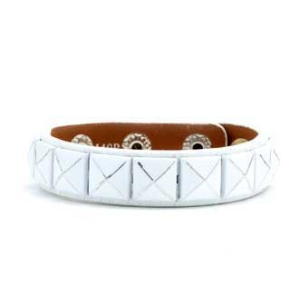 White Genuine Leather Bracelet with Ten Pyramid Studs along Center with adjustable button snap closure