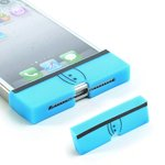 Boxer Underwear Style Home Key Button Protective Cover Protector For Iphone 5 / 4S / 4 - Blue front-686728