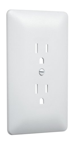 Taymac 2000W Paintable Outlet Cover Wall Plate Frame, White, 1-Gang