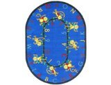 "Joy Carpets Kid Essentials Early Childhood Oval Monkey Business Rug, Blue, 7'8"" x 10'9"""