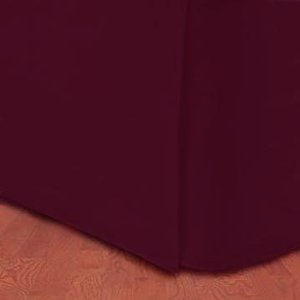 Wrinkle-Free Solid Burgundy California King Size Pleated Tailored Bed Skirt With 14 Inches Drop- 95 Gsm, 100% Microfiber.