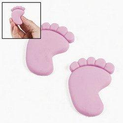 12 Light Pink Baby Feet Erasers - 1