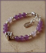 Lily Sterling Silver Childrens Girls Bracelet Childrens Purple Lavender Quartz Daisy Size Large 6-13 Years