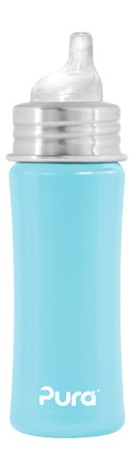 Pura Stainless Kiki Sippy Bottle Stainless Steel, 11 Ounce, Aqua Blue, 6 Months