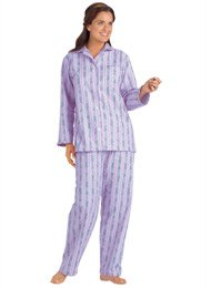 100% Cotton Flannel Pajamas - Women's Sizes, Color Lilac, Size 4X