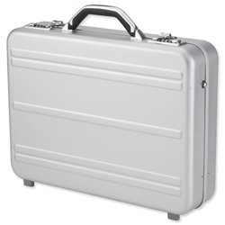 Alumaxx Mercato Laptop Attache Case with 2 Combination Locks Silver Aluminium Ref 45188 from Juscha