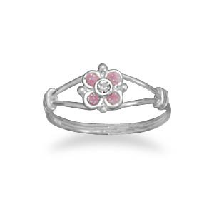 Sterling Silver Pink Flower Childs Ring Pink