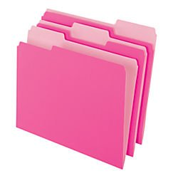 OfficeMax Colored File Folders, Letter, 1/3 Cut, Pink, 100/Box