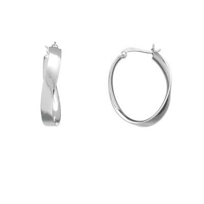 New Jewelry Earrings 925 Sterling Silver Plated Exquisite Curved Oval shape Hoop Design (WoW !With Purchase Over $50 Receive A Marcrame Bracelet Free)