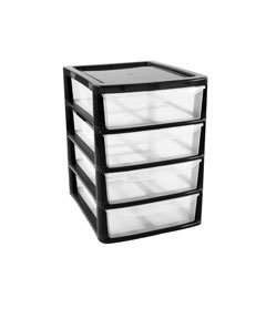 thumbsup meuble de rangement 4 tiroirs a4 en plastique noir bricolage. Black Bedroom Furniture Sets. Home Design Ideas