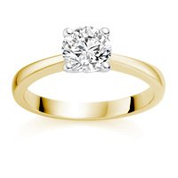 1/2 Carat E/VS2 Round Brilliant Certified Diamond Solitaire Engagement Ring in 18k Yellow Gold