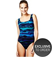 M&S Collection Tummy Control Water Lines Print Swimsuit