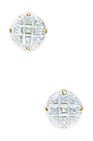 14k Yellow Gold 6mm 9 Segment Round CZ Basket Set Earrings - JewelryWeb