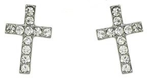 1/2 Clear Crystal Embellished Cross Stud Earrings Silver Rhodium Plating