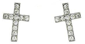 1/2 Clear Crystal Embellished Cross Stud Earrings Silver Rhodium Plating
