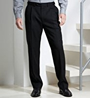 Supercrease™ Active Waistband Single Pleat Trousers with Wool