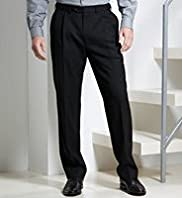 Washable Wool Blend Active Waistband Supercrease® Single Pleat Trousers