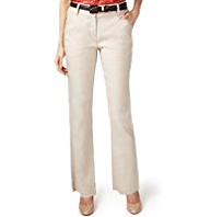 Per Una Roma Linen Blend Straight Leg Trousers with Belt